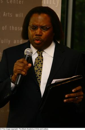 Primary view of object titled '[Curtis King speaking]'.