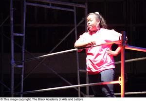 Primary view of object titled '[Ensemble member in Aretha: The Musical]'.