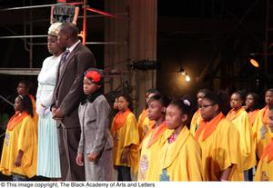 Primary view of object titled '[Young actors performing in Aretha: The Musical]'.