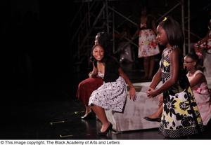 Primary view of object titled '[Ensemble performing onstage at Aretha: The Musical]'.