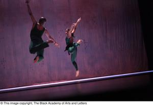 Primary view of object titled '[Dancers in green leaping]'.