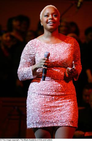 Primary view of object titled '[Chrisette Michele on stage]'.