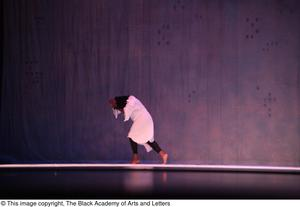 Primary view of object titled '[Solo dancer in white on stage]'.