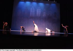 Primary view of object titled '[Dancers in black and white on stage]'.