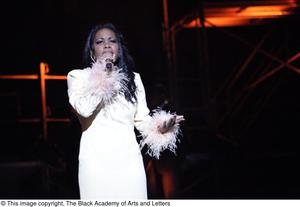Primary view of object titled '[Actress performs a solo in Aretha: The Musical]'.