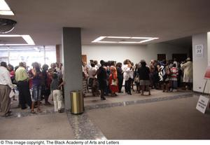 Primary view of object titled '[Patrons waiting at Aretha: The Musical]'.