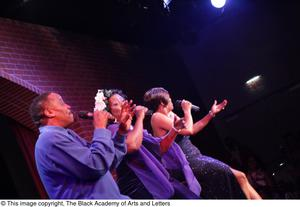 Primary view of object titled '[Singers in purple on stage]'.