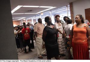 Primary view of object titled '[Crowd waiting in line lobby at Aretha: The Musical]'.