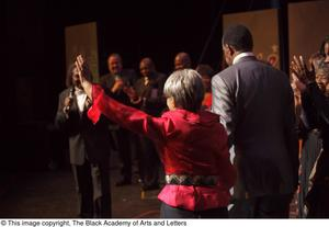 Primary view of object titled '[Curtis King presenting Ruby Dee]'.