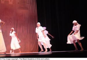 Primary view of object titled '[Dancers in white dresses on stage]'.
