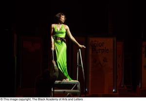 Primary view of object titled '[Performer in green dress]'.