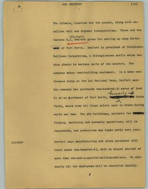 Primary view of object titled '[News Script: New industry]'.