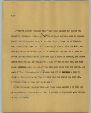 Primary view of object titled '[News Script: Bank]'.