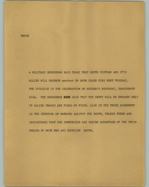 Primary view of object titled '[News Script: Truce]'.