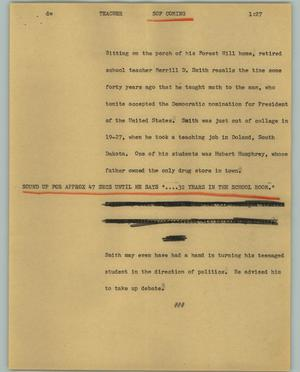Primary view of object titled '[News Script: Teacher]'.