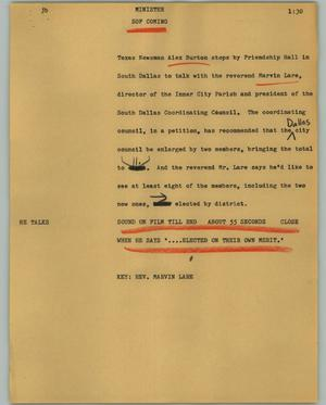 Primary view of object titled '[News Script: Minister]'.