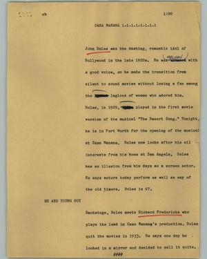 Primary view of object titled '[News Script: Casa Mañana]'.