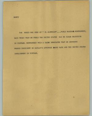 Primary view of object titled '[News Script: Monty]'.
