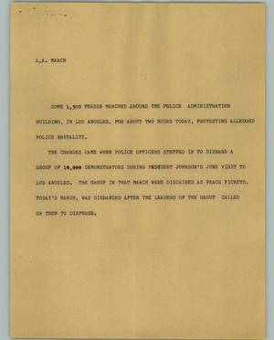 Primary view of object titled '[News Script: L. A. March]'.