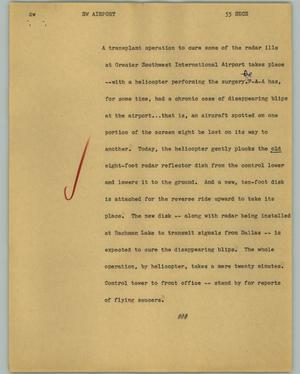 Primary view of object titled '[News Script: SW Airport]'.