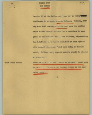 Primary view of object titled '[News Script: Dallas suit]'.