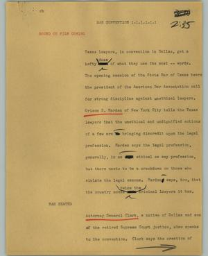 Primary view of object titled '[News Script: Bar Convention]'.