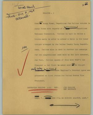 Primary view of object titled '[News Script: Collins]'.