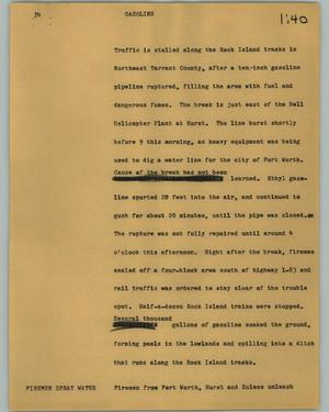 Primary view of object titled '[News Script: Gasoline]'.