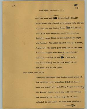 Primary view of object titled '[News Script: Jail leak]'.