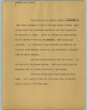 Primary view of object titled '[News Script: Weekend news opening]'.