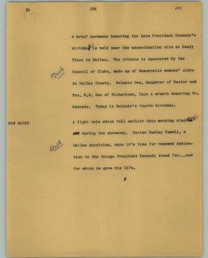 Primary view of object titled '[News Script: JFK]'.