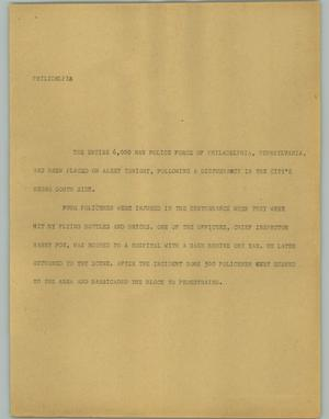 Primary view of object titled '[News Script: Philidelphia]'.