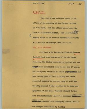 Primary view of object titled '[News Script: Who's at zoo]'.