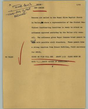 Primary view of object titled '[News Script: Snick]'.