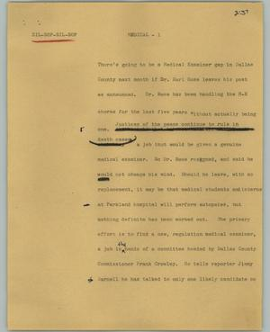 Primary view of object titled '[News Script: Medical]'.