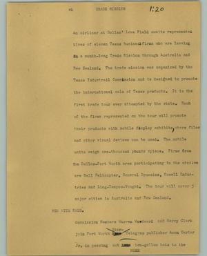 Primary view of object titled '[News Script: Trade mission]'.