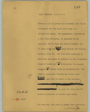 Primary view of object titled '[News Script: Rape verdicts]'.