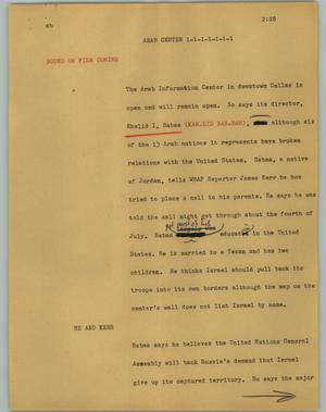 Primary view of object titled '[News Script: Arab center]'.
