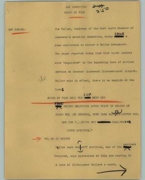 Primary view of object titled '[News Script: AVN committee]'.