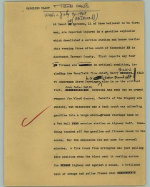 Primary view of object titled '[News Script: Gasoline blast]'.