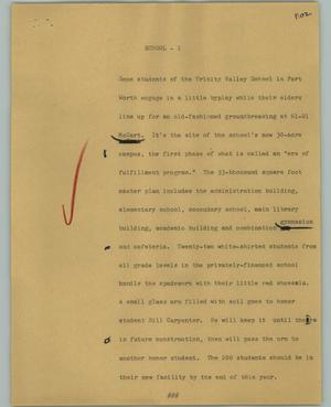 Primary view of object titled '[News Script: School]'.