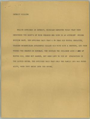 Primary view of object titled '[News Script: Detroit Killing]'.