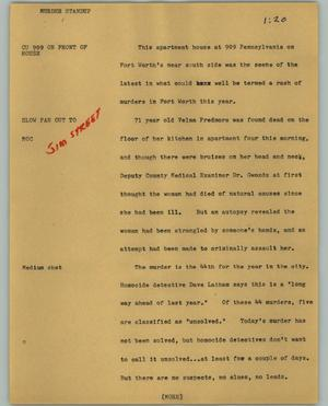 Primary view of object titled '[News Script: Murder standup]'.