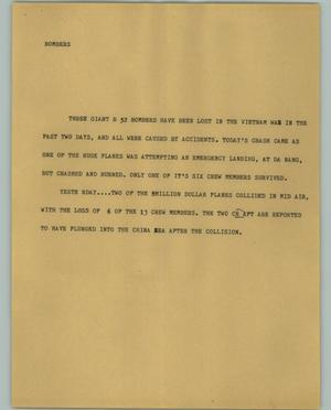 Primary view of object titled '[News Script: Bombers]'.