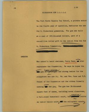 Primary view of object titled '[News Script: Richardson gym]'.