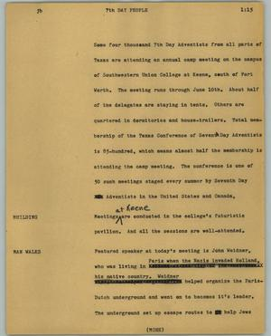 Primary view of object titled '[News Script: 7th Day People]'.