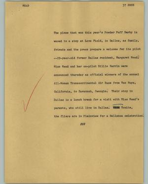 Primary view of object titled '[News Script: Mead]'.
