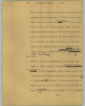 Primary view of object titled '[News Script: Courthouse plumbing]'.