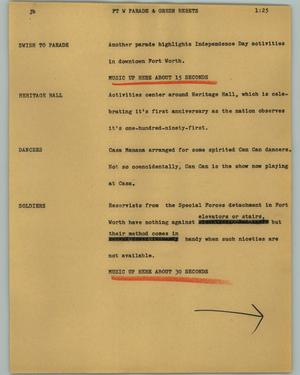 Primary view of object titled '[News Script: Ft W Parade & Green Berets]'.