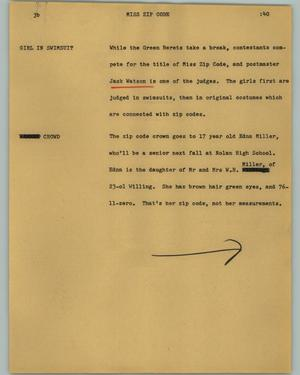 Primary view of object titled '[News Script: Miss Zip Code]'.